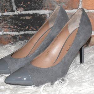 NWT ESCADA Gray Suede Pointy Toe Heels - 37 $475!
